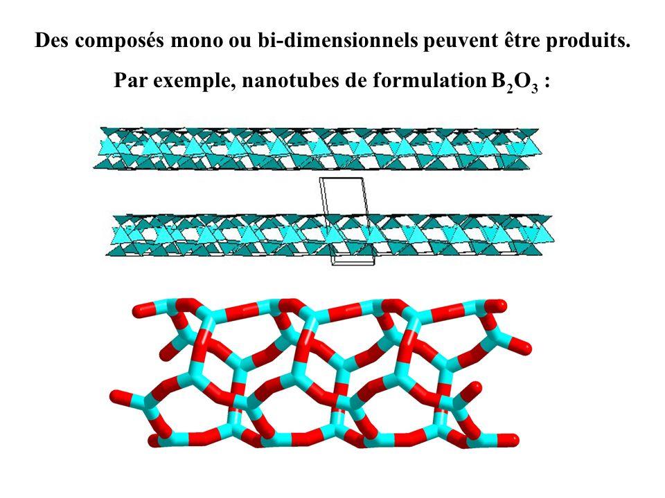 Des composés mono ou bi-dimensionnels peuvent être produits. Par exemple, nanotubes de formulation B 2 O 3 :