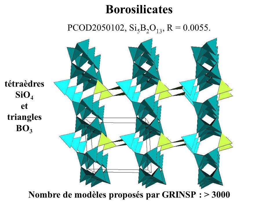 Borosilicates PCOD2050102, Si 5 B 2 O 13, R = 0.0055. Nombre de modèles proposés par GRINSP : > 3000 tétraèdres SiO 4 et triangles BO 3