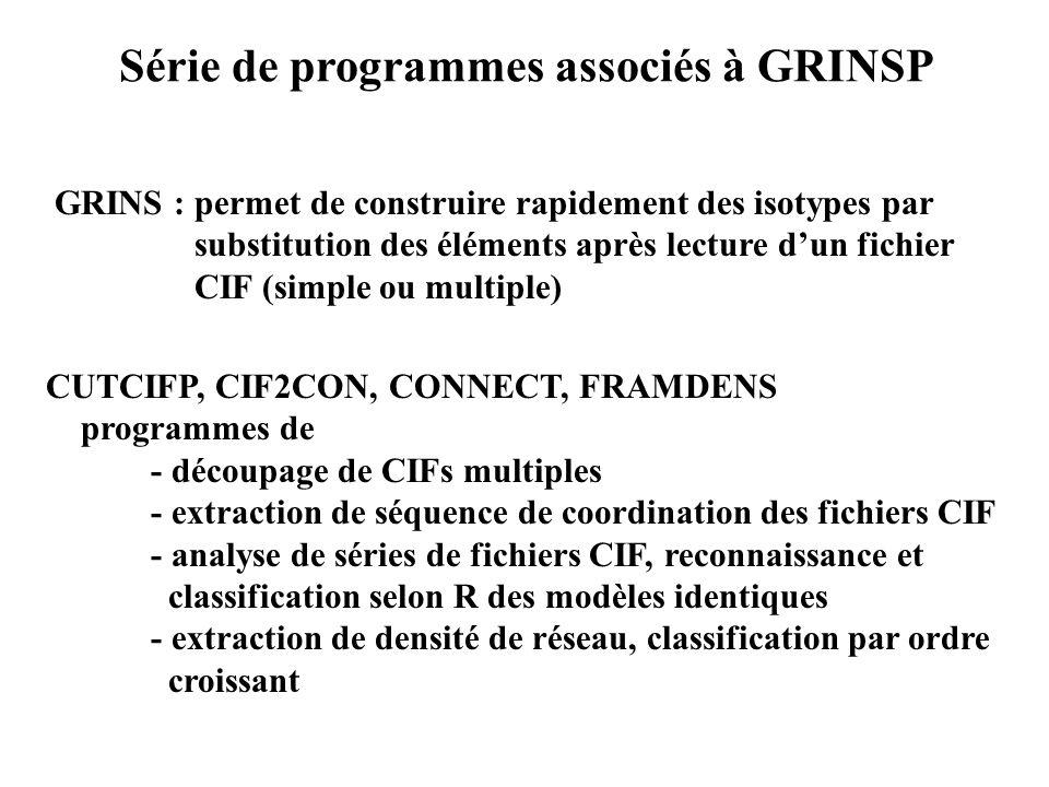Série de programmes associés à GRINSP GRINS : permet de construire rapidement des isotypes par substitution des éléments après lecture dun fichier CIF