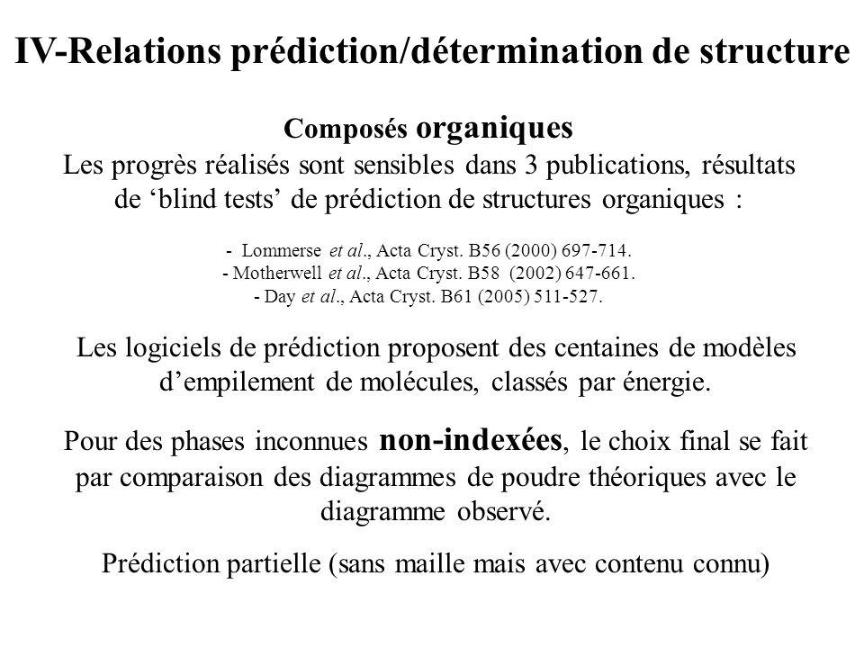 IV-Relations prédiction/détermination de structure Composés organiques Les progrès réalisés sont sensibles dans 3 publications, résultats de blind tes