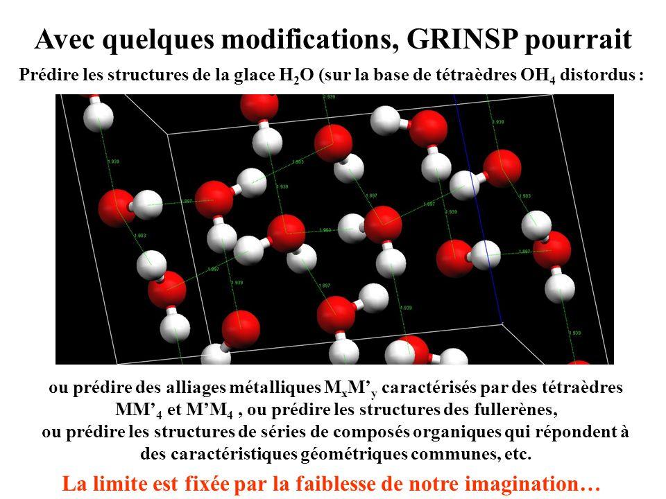 Avec quelques modifications, GRINSP pourrait Prédire les structures de la glace H 2 O (sur la base de tétraèdres OH 4 distordus : ou prédire des allia