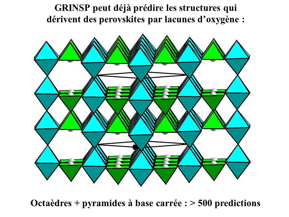 GRINSP peut déjà prédire les structures qui dérivent des perovskites par lacunes doxygène : Octaèdres + pyramides à base carrée : > 500 predictions