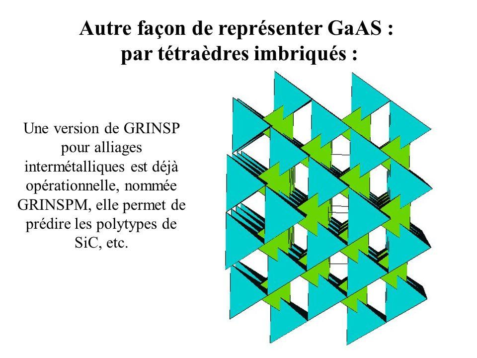 Autre façon de représenter GaAS : par tétraèdres imbriqués : Une version de GRINSP pour alliages intermétalliques est déjà opérationnelle, nommée GRIN