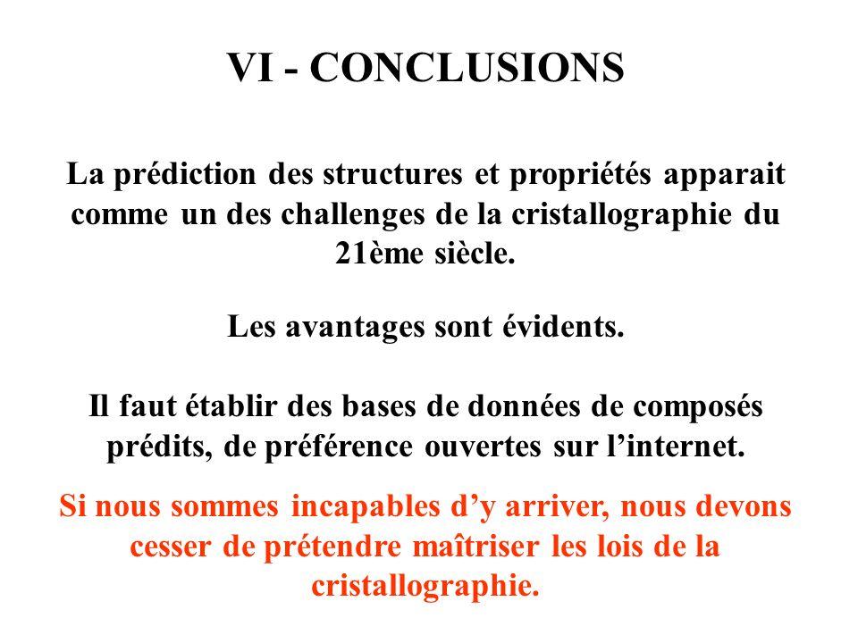 VI - CONCLUSIONS La prédiction des structures et propriétés apparait comme un des challenges de la cristallographie du 21ème siècle. Les avantages son