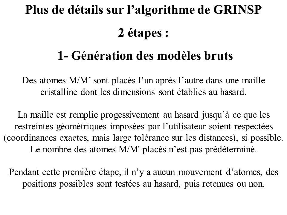 Plus de détails sur lalgorithme de GRINSP 2 étapes : 1- Génération des modèles bruts Des atomes M/M sont placés lun après lautre dans une maille crist
