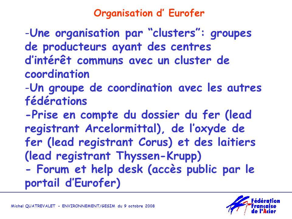 Michel QUATREVALET - ENVIRONNEMENT/GESIM du 9 octobre 2008 Organisation d Eurofer -Une organisation par clusters: groupes de producteurs ayant des centres dintérêt communs avec un cluster de coordination -Un groupe de coordination avec les autres fédérations -Prise en compte du dossier du fer (lead registrant Arcelormittal), de loxyde de fer (lead registrant Corus) et des laitiers (lead registrant Thyssen-Krupp) - Forum et help desk (accès public par le portail dEurofer)