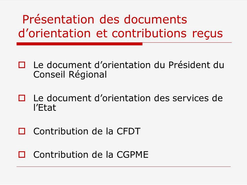 Présentation des documents dorientation et contributions reçus Le document dorientation du Président du Conseil Régional Le document dorientation des services de lEtat Contribution de la CFDT Contribution de la CGPME