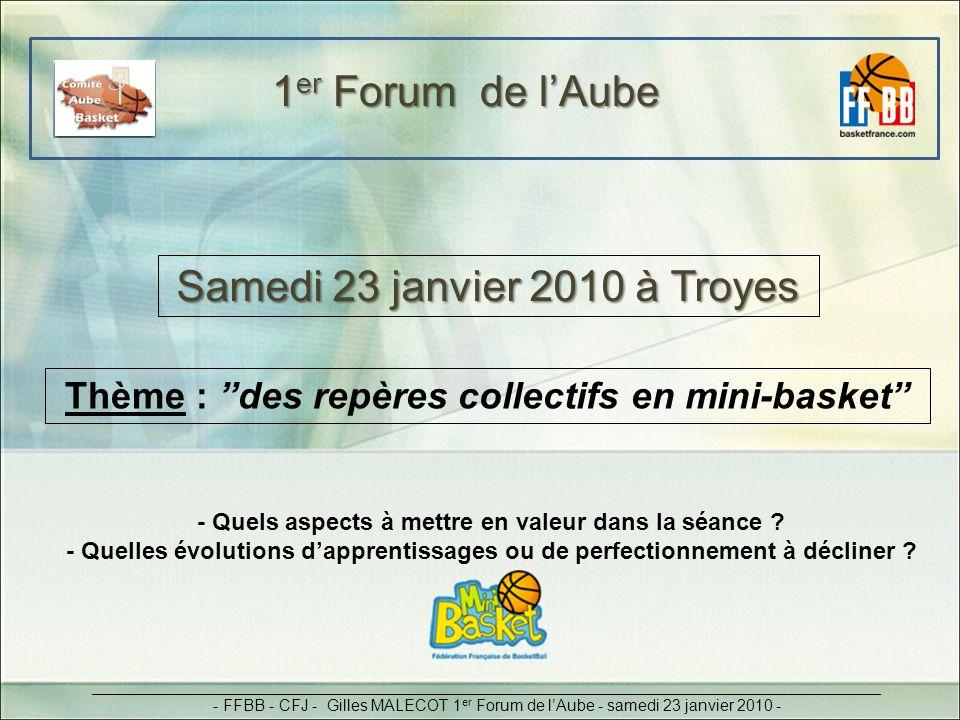 1 er Forum de lAube Samedi 23 janvier 2010 à Troyes _________________________________________________________________________________________ - FFBB -