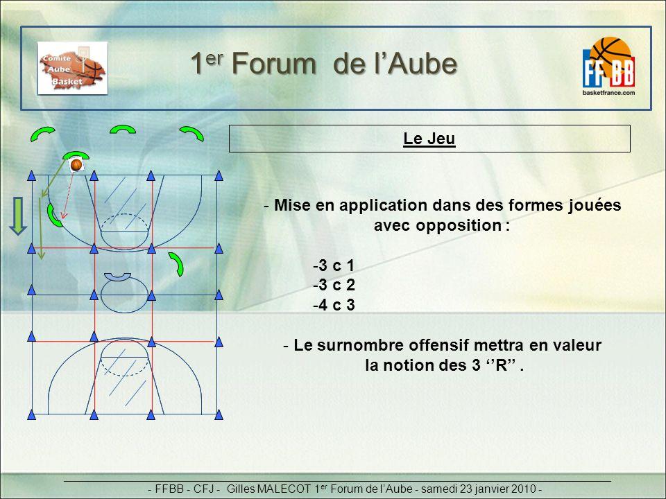 Le Jeu - Mise en application dans des formes jouées avec opposition : -3 c 1 -3 c 2 -4 c 3 - Le surnombre offensif mettra en valeur la notion des 3 R.