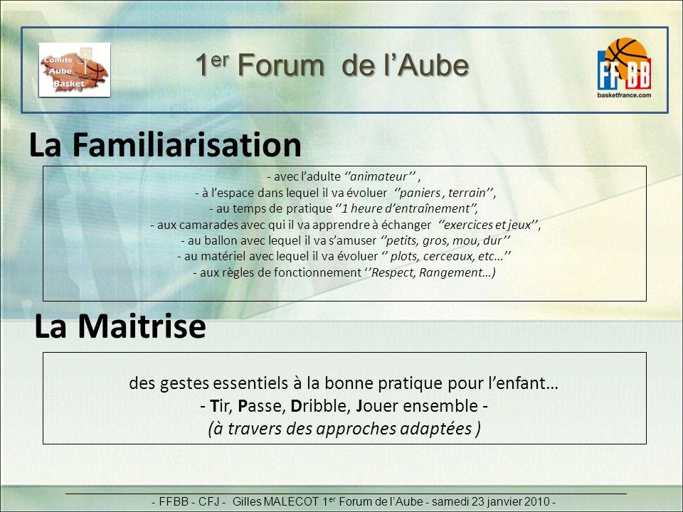 1 er Forum de lAube _________________________________________________________________________________________ - FFBB - CFJ - Gilles MALECOT 1 er Forum de lAube - samedi 23 janvier 2010 - -animer les séances à laide de : Règles (succinctes), Rôles(pour tous) et Registre technique(fondamentaux ind et co) Principe des 3R