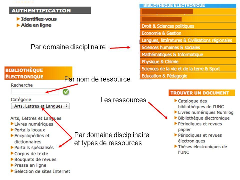 Par nom de ressource Par domaine disciplinaire et types de ressources Les ressources Par domaine disciplinaire