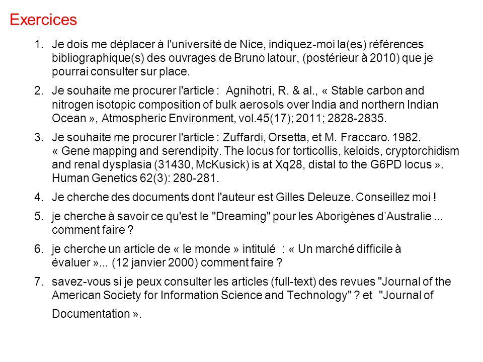 Exercices 1.Je dois me déplacer à l université de Nice, indiquez-moi la(es) références bibliographique(s) des ouvrages de Bruno latour, (postérieur à 2010) que je pourrai consulter sur place.
