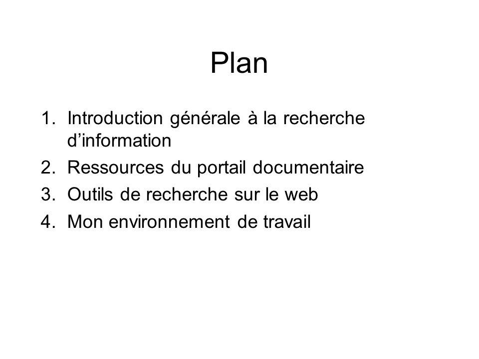 Plan 1.Introduction générale à la recherche dinformation 2.Ressources du portail documentaire 3.Outils de recherche sur le web 4.Mon environnement de travail