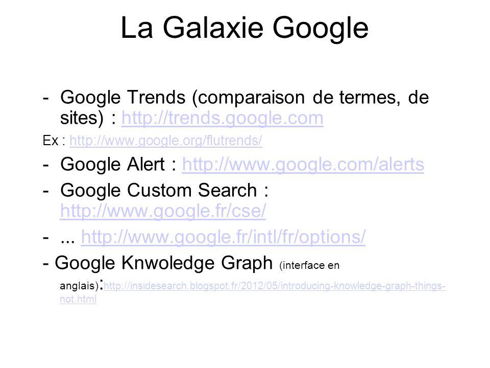 La Galaxie Google -Google Trends (comparaison de termes, de sites) : http://trends.google.comhttp://trends.google.com Ex : http://www.google.org/flutrends/http://www.google.org/flutrends/ -Google Alert : http://www.google.com/alertshttp://www.google.com/alerts -Google Custom Search : http://www.google.fr/cse/ http://www.google.fr/cse/ -...