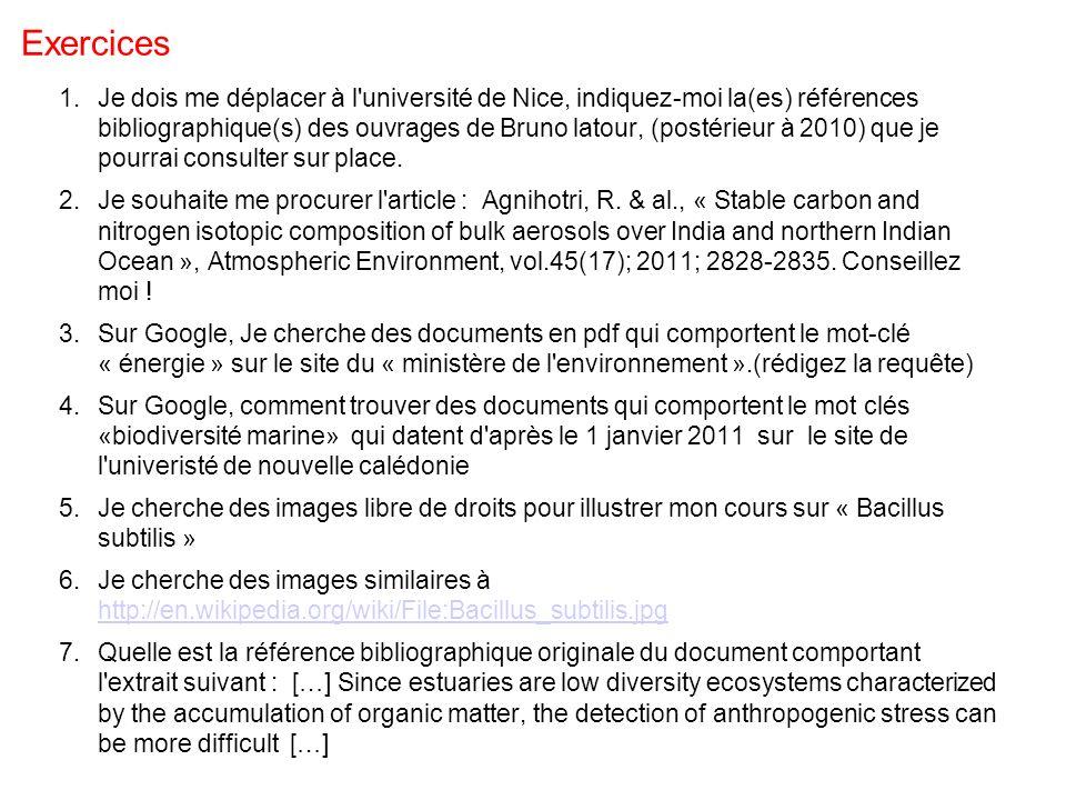 Exercices 1.Je dois me déplacer à l'université de Nice, indiquez-moi la(es) références bibliographique(s) des ouvrages de Bruno latour, (postérieur à