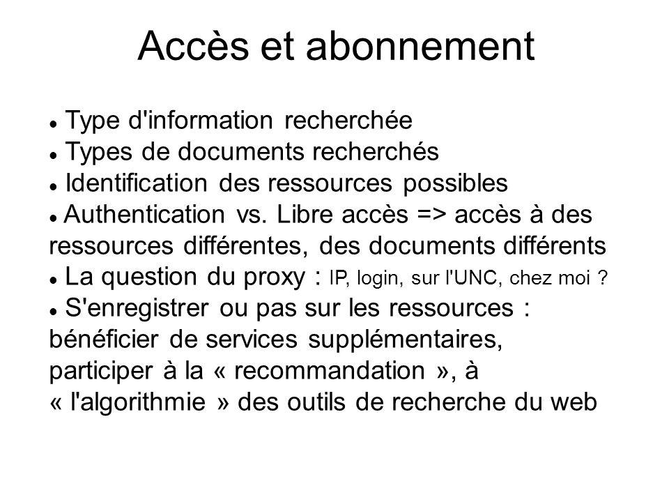 Accès et abonnement Type d'information recherchée Types de documents recherchés Identification des ressources possibles Authentication vs. Libre accès