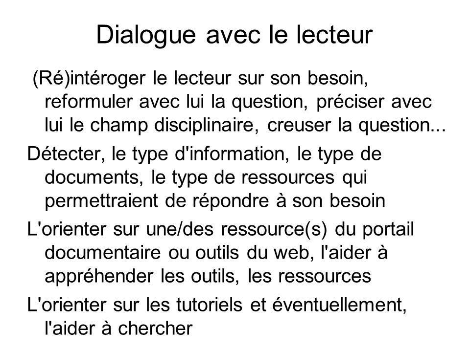Dialogue avec le lecteur (Ré)intéroger le lecteur sur son besoin, reformuler avec lui la question, préciser avec lui le champ disciplinaire, creuser la question...