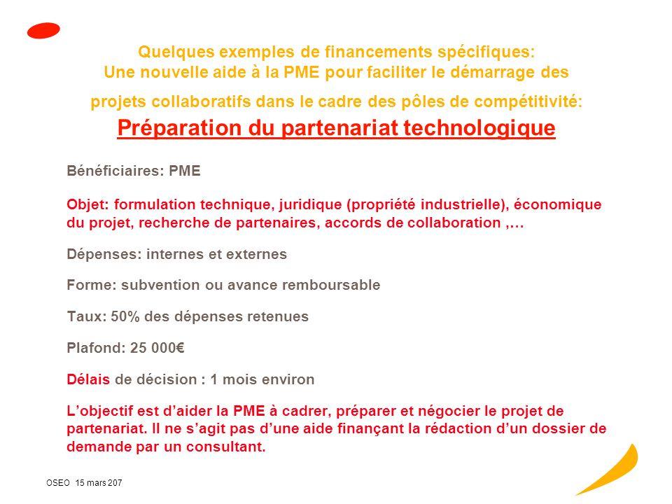 OSEO 15 mars 207 Pôles : les actions dOSEO (2/2) 3 - Financements des projets de R&D: Des soutiens renforcés : Pour les projets labellisés, possibilité de « bonus » en subvention, sajoutant à lavance remboursable ou PRIDES (cf dernier slide) Partenariats européens et internationaux (EUREKA) Le développement deffets de levier financier : Au sein dOSEO, avec les Régions, avec les acteurs privés Une mise en oeuvre simple et rapide : sans alourdissement, en lien avec les structures de gouvernance et les autres acteurs pour les cofinancements (Régions, Feder), une convention daide unique (coopérations OSEO/régions)