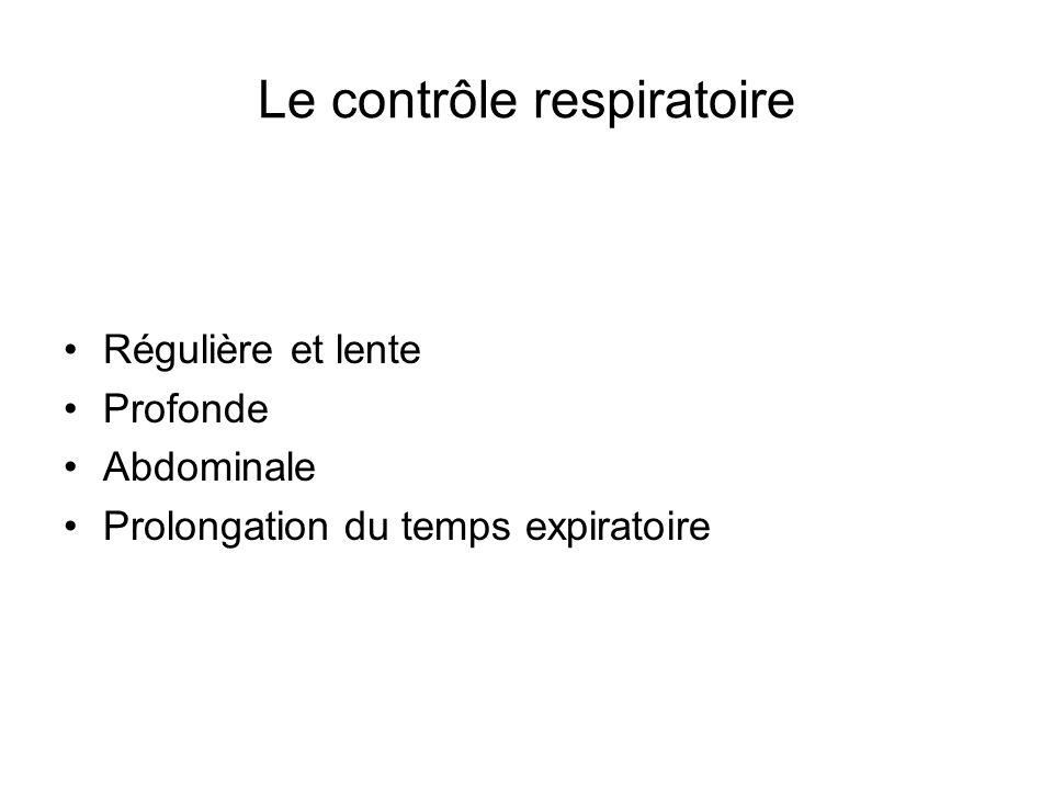 Le contrôle respiratoire Régulière et lente Profonde Abdominale Prolongation du temps expiratoire