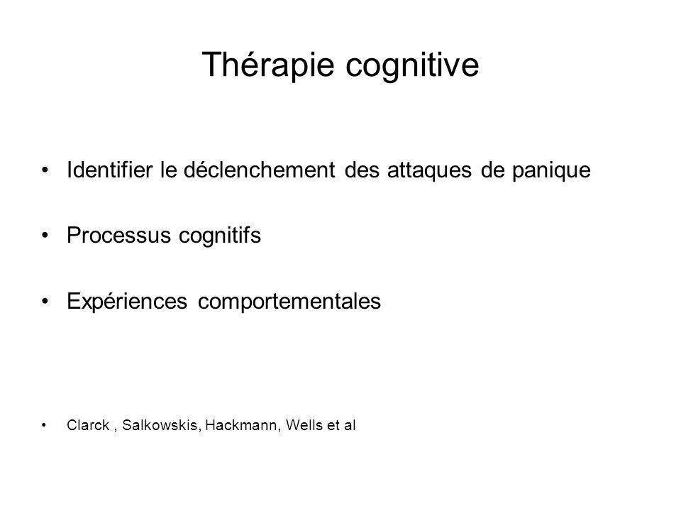 Thérapie cognitive Identifier le déclenchement des attaques de panique Processus cognitifs Expériences comportementales Clarck, Salkowskis, Hackmann, Wells et al
