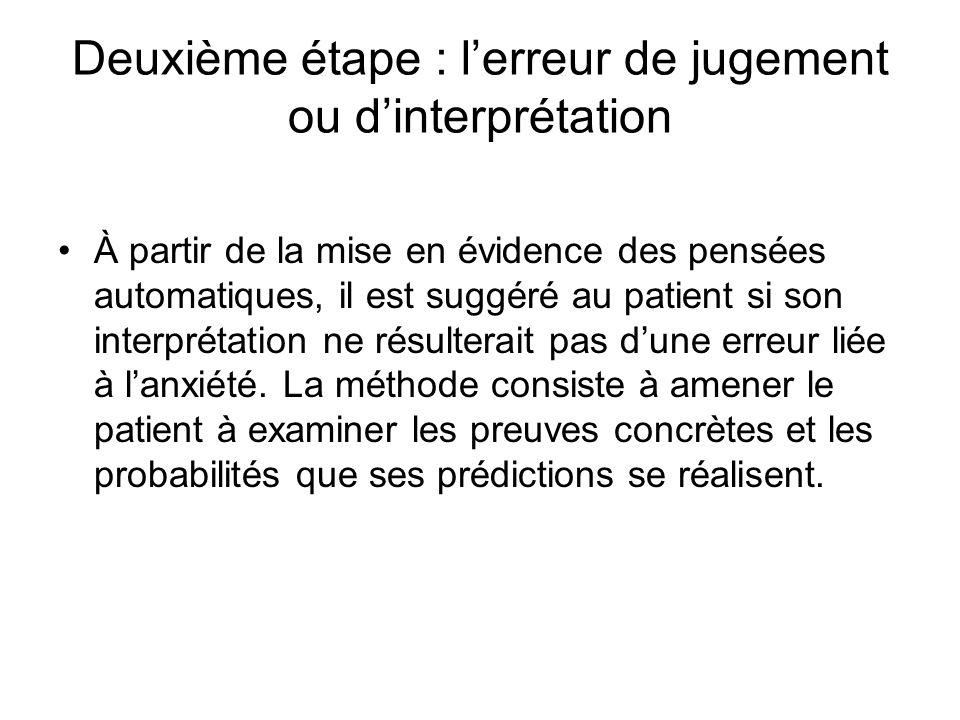 Deuxième étape : lerreur de jugement ou dinterprétation À partir de la mise en évidence des pensées automatiques, il est suggéré au patient si son interprétation ne résulterait pas dune erreur liée à lanxiété.