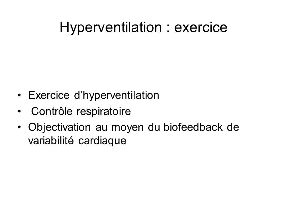 Hyperventilation : exercice Exercice dhyperventilation Contrôle respiratoire Objectivation au moyen du biofeedback de variabilité cardiaque