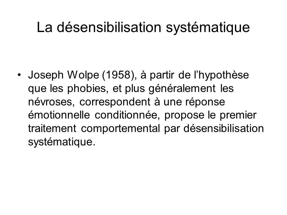 La désensibilisation systématique Joseph Wolpe (1958), à partir de lhypothèse que les phobies, et plus généralement les névroses, correspondent à une réponse émotionnelle conditionnée, propose le premier traitement comportemental par désensibilisation systématique.