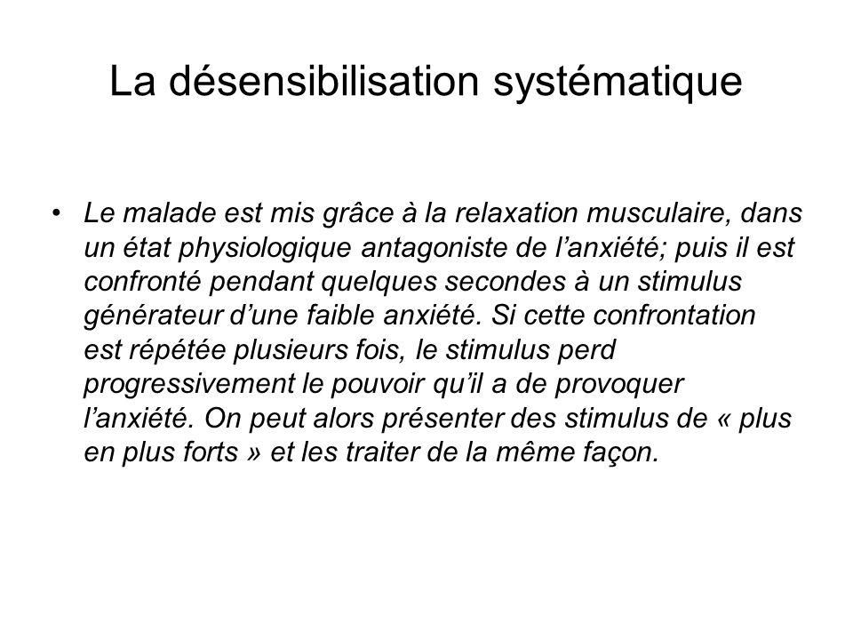 La désensibilisation systématique Le malade est mis grâce à la relaxation musculaire, dans un état physiologique antagoniste de lanxiété; puis il est confronté pendant quelques secondes à un stimulus générateur dune faible anxiété.