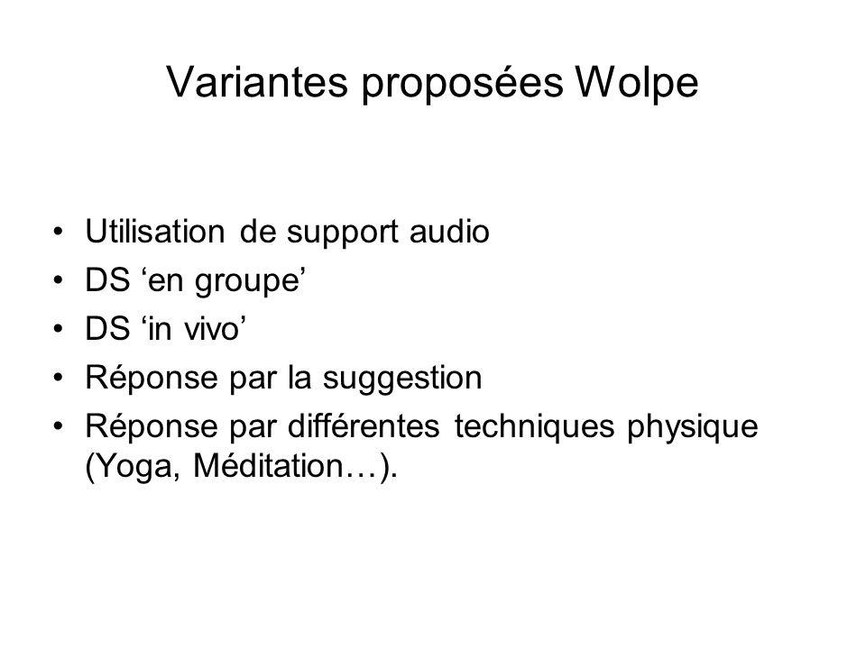 Variantes proposées Wolpe Utilisation de support audio DS en groupe DS in vivo Réponse par la suggestion Réponse par différentes techniques physique (Yoga, Méditation…).