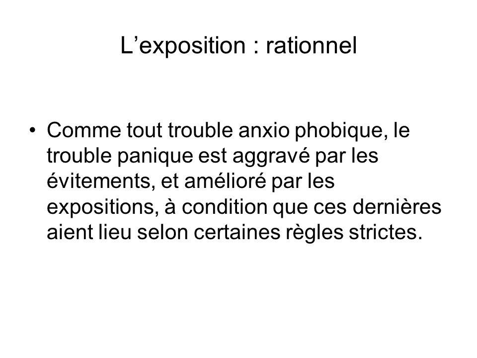 Lexposition : rationnel Comme tout trouble anxio phobique, le trouble panique est aggravé par les évitements, et amélioré par les expositions, à condition que ces dernières aient lieu selon certaines règles strictes.