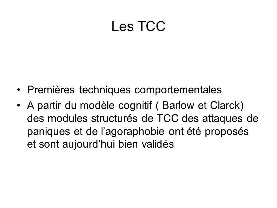 Les TCC Premières techniques comportementales A partir du modèle cognitif ( Barlow et Clarck) des modules structurés de TCC des attaques de paniques et de lagoraphobie ont été proposés et sont aujourdhui bien validés