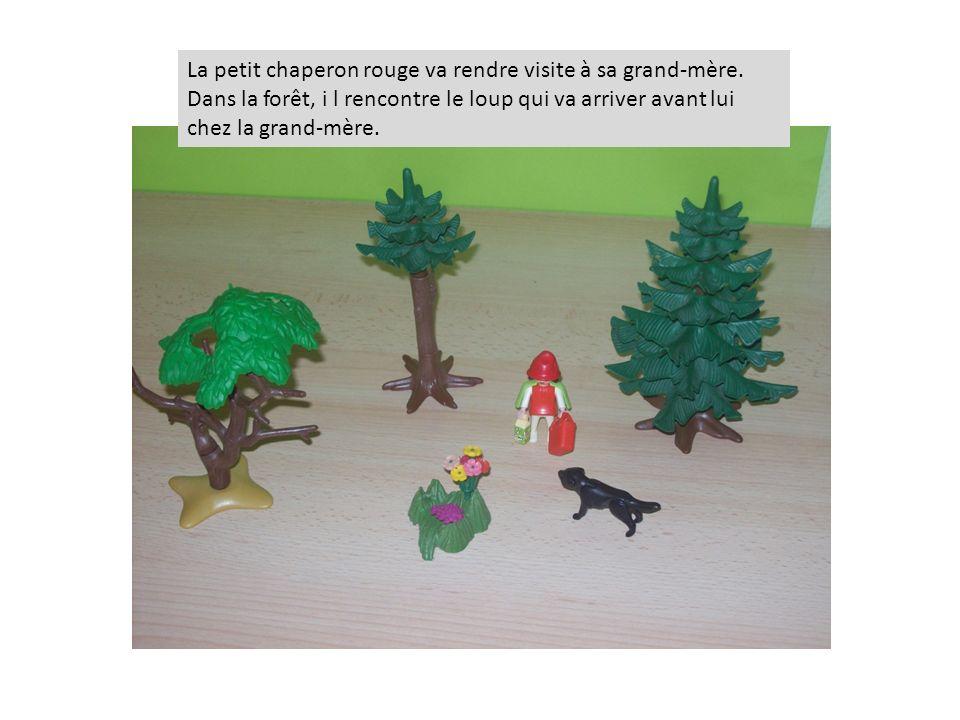 La petit chaperon rouge va rendre visite à sa grand-mère. Dans la forêt, i l rencontre le loup qui va arriver avant lui chez la grand-mère.