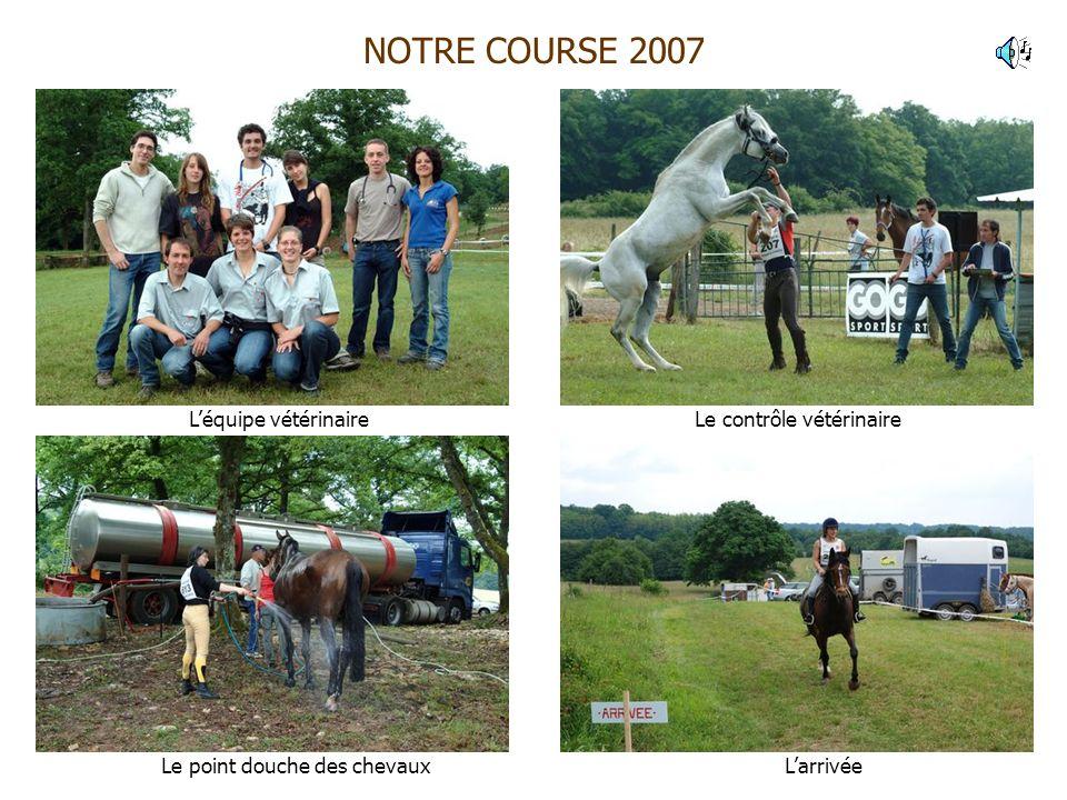 NOTRE COURSE 2007 Léquipe vétérinaire Le point douche des chevaux Le contrôle vétérinaire Larrivée