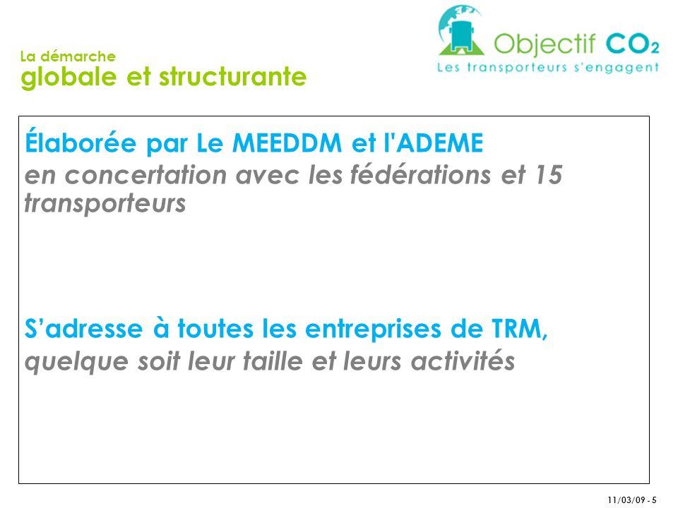 11/03/09 - 5 Élaborée par Le MEEDDM et l ADEME en concertation avec les fédérations et 15 transporteurs Sadresse à toutes les entreprises de TRM, quelque soit leur taille et leurs activités La démarche globale et structurante
