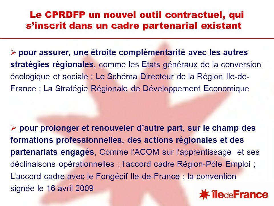 Le CPRDFP un nouvel outil contractuel, qui sinscrit dans un cadre partenarial existant pour assurer, une étroite complémentarité avec les autres stratégies régionales, comme les Etats généraux de la conversion écologique et sociale ; Le Schéma Directeur de la Région Ile-de- France ; La Stratégie Régionale de Développement Economique pour prolonger et renouveler dautre part, sur le champ des formations professionnelles, des actions régionales et des partenariats engagés, Comme lACOM sur lapprentissage et ses déclinaisons opérationnelles ; laccord cadre Région-Pôle Emploi ; Laccord cadre avec le Fongécif Ile-de-France ; la convention signée le 16 avril 2009