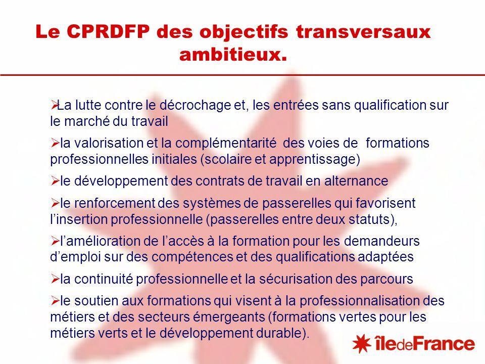 Le CPRDFP des objectifs transversaux ambitieux. La lutte contre le décrochage et, les entrées sans qualification sur le marché du travail la valorisat