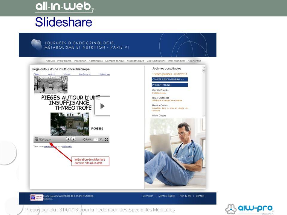 Proposition du : 31/01/13 pour la Fédération des Spécialités Médicales Slideshare