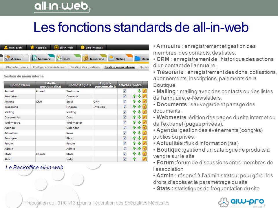 Proposition du : 31/01/13 pour la Fédération des Spécialités Médicales Les fonctions standards de all-in-web Annuaire : enregistrement et gestion des