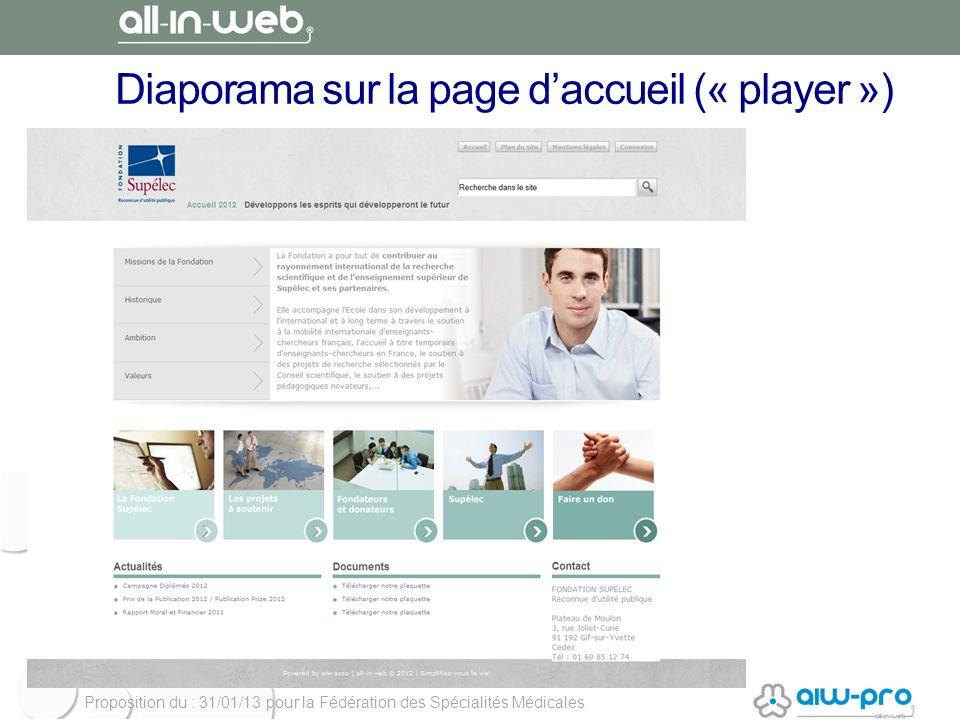 Proposition du : 31/01/13 pour la Fédération des Spécialités Médicales Diaporama sur la page daccueil (« player »)