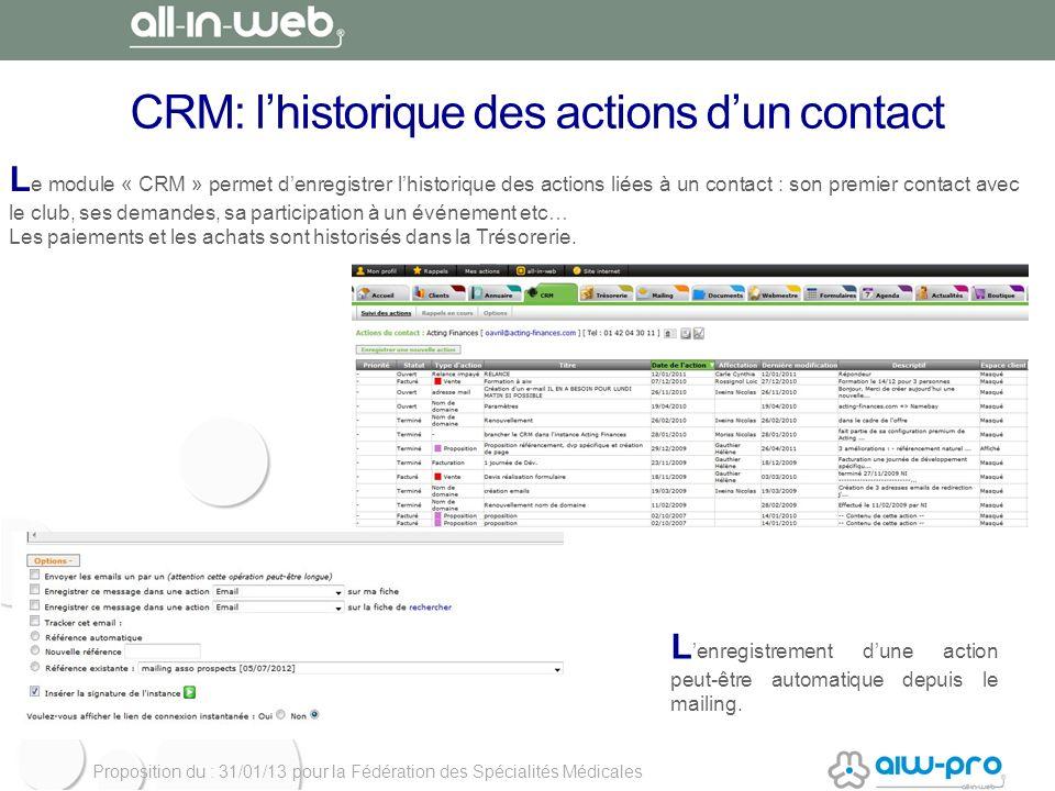 Proposition du : 31/01/13 pour la Fédération des Spécialités Médicales CRM: lhistorique des actions dun contact L e module « CRM » permet denregistrer