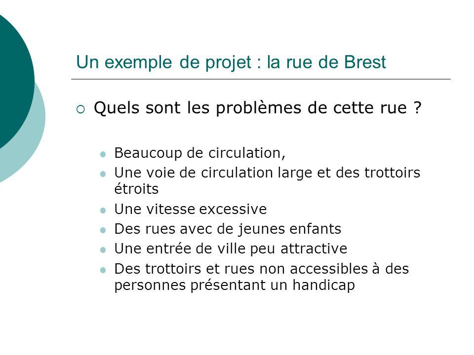 Un exemple de projet : la rue de Brest Quels sont les problèmes de cette rue ? Beaucoup de circulation, Une voie de circulation large et des trottoirs
