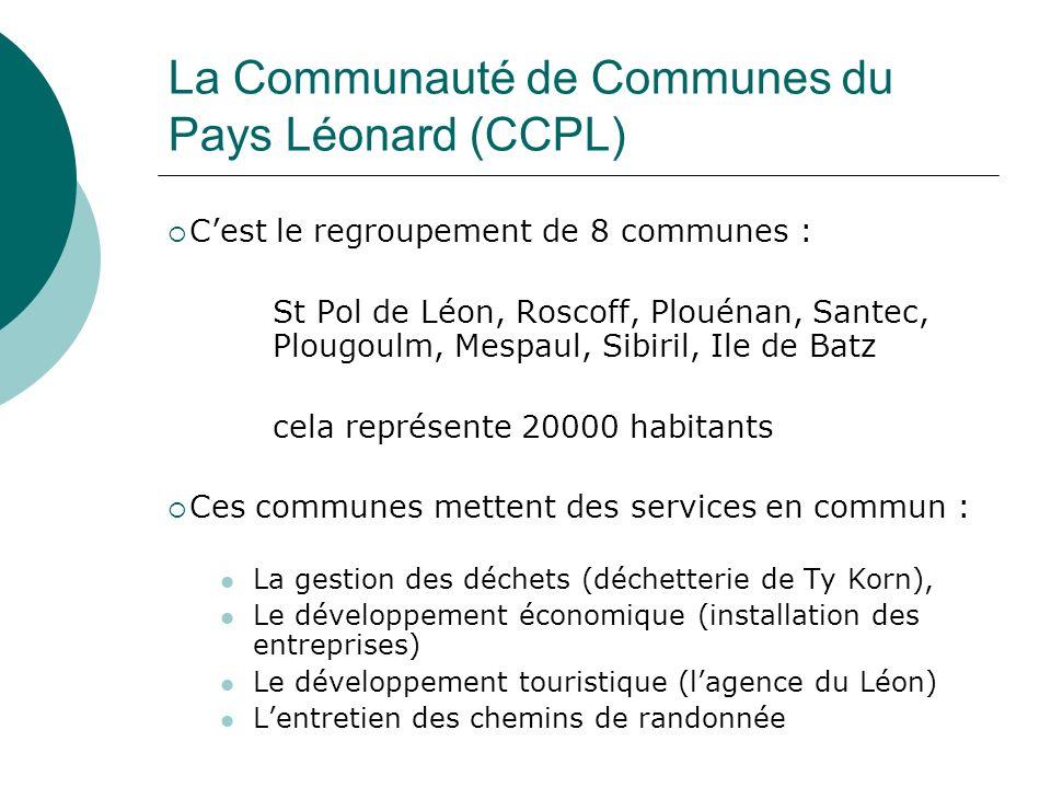 La Communauté de Communes du Pays Léonard (CCPL) Cest le regroupement de 8 communes : St Pol de Léon, Roscoff, Plouénan, Santec, Plougoulm, Mespaul, S