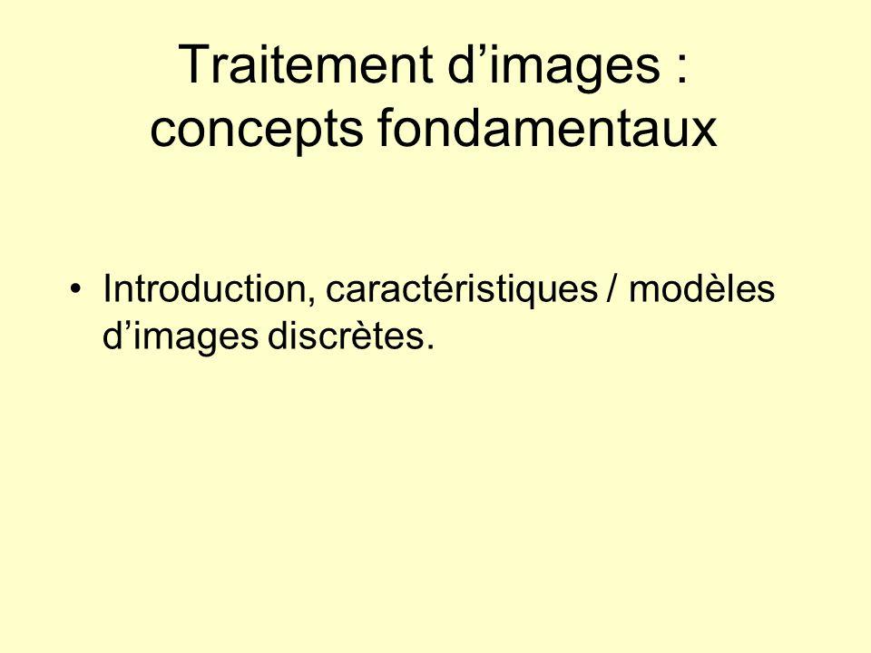 Traitement dimages : concepts fondamentaux Introduction, caractéristiques / modèles dimages discrètes.