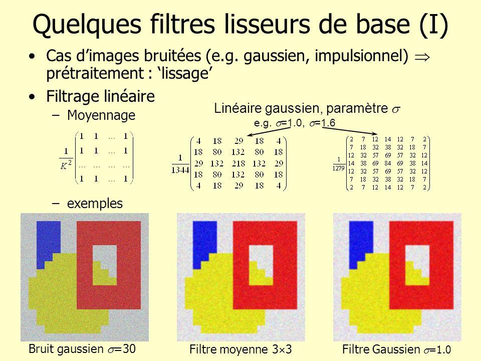 Quelques filtres lisseurs de base (I) Cas dimages bruitées (e.g. gaussien, impulsionnel) prétraitement : lissage Filtrage linéaire –Moyennage –exemple
