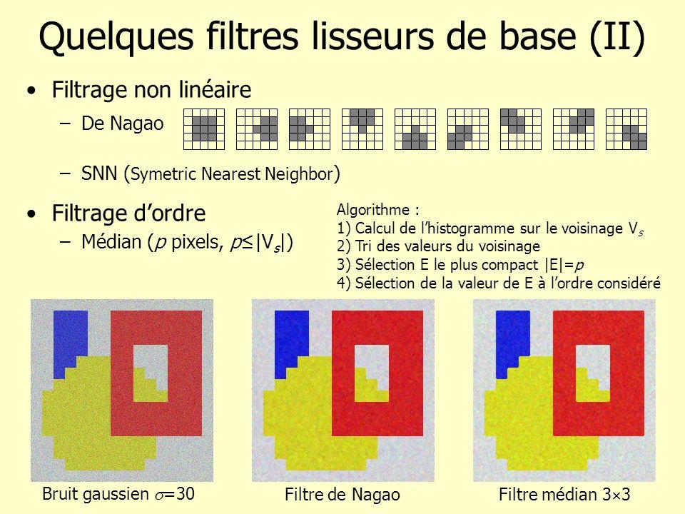 Quelques filtres lisseurs de base (II) Filtrage non linéaire –De Nagao –SNN ( Symetric Nearest Neighbor ) Filtrage dordre –Médian (p pixels, p|V s |)