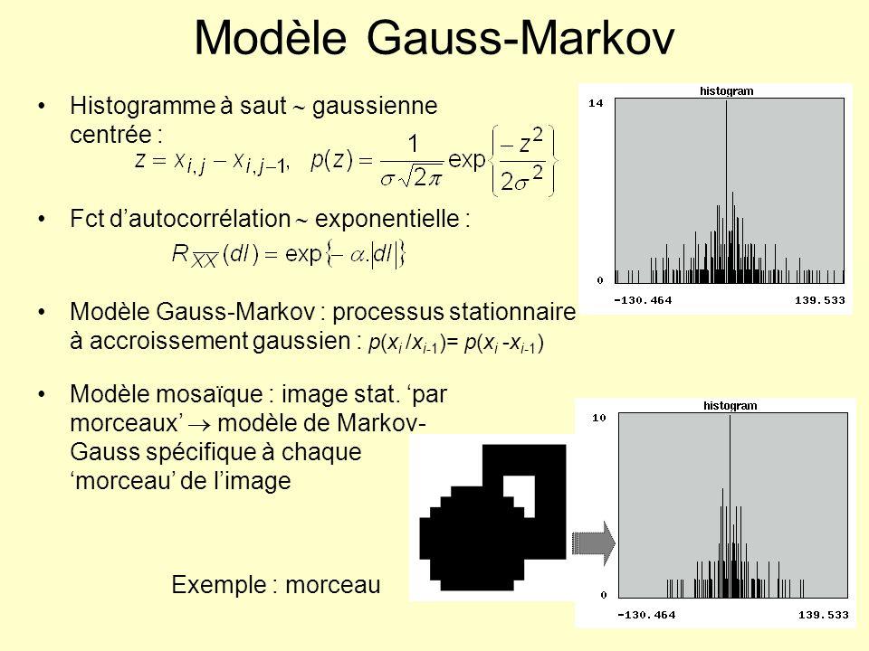 Modèle Gauss-Markov Histogramme à saut gaussienne centrée : Fct dautocorrélation exponentielle : Modèle Gauss-Markov : processus stationnaire à accroi