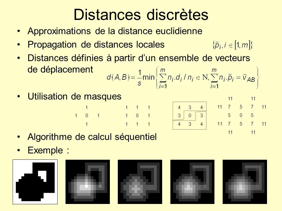 Distances discrètes Approximations de la distance euclidienne Propagation de distances locales Distances définies à partir dun ensemble de vecteurs de