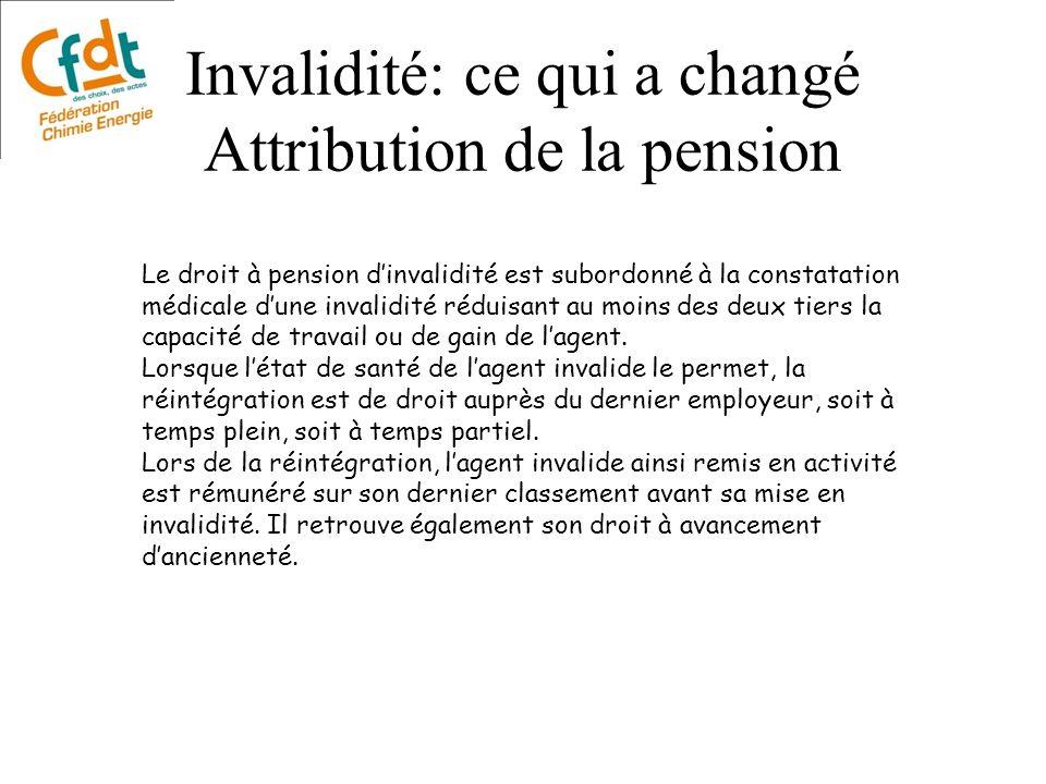 Invalidité: ce qui a changé Attribution de la pension Le droit à pension dinvalidité est subordonné à la constatation médicale dune invalidité réduisa