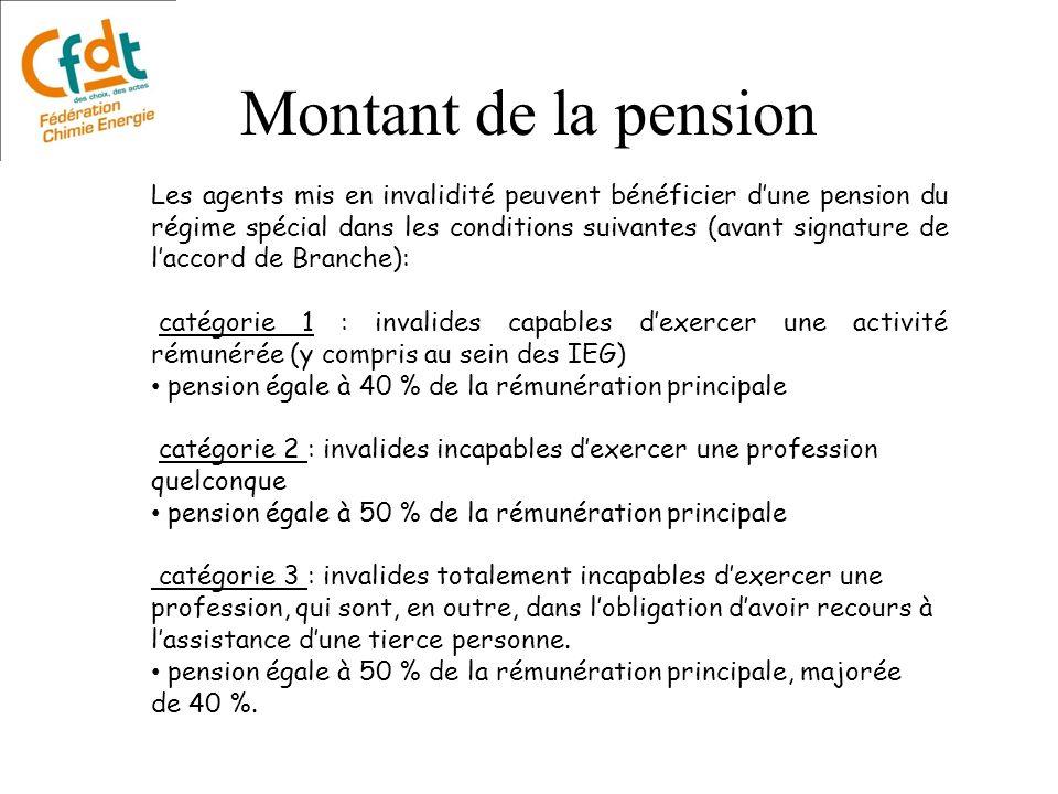 Montant de la pension Les agents mis en invalidité peuvent bénéficier dune pension du régime spécial dans les conditions suivantes (avant signature de
