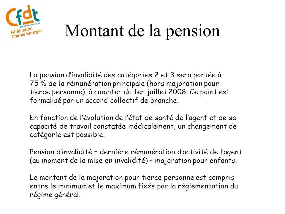 Montant de la pension La pension dinvalidité des catégories 2 et 3 sera portée à 75 % de la rémunération principale (hors majoration pour tierce perso